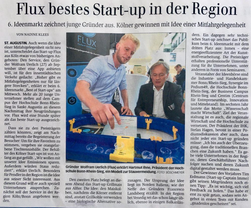 Zeitungsartikel Generalanzeiger goFlux bestes Startup