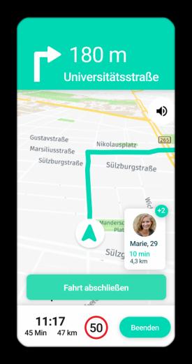 Navigation in der route D-App