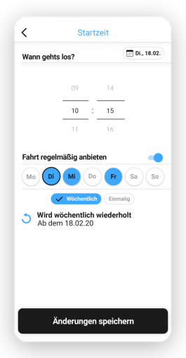 Screenshot der goFLUX-App