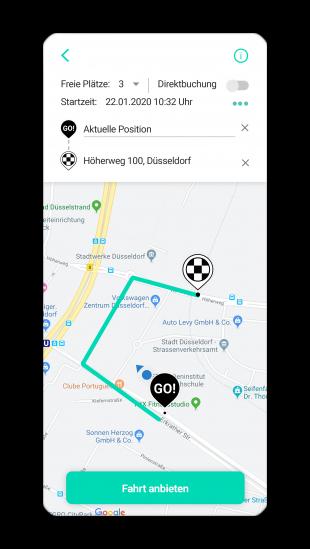 Screenshot der goFLUX-App
