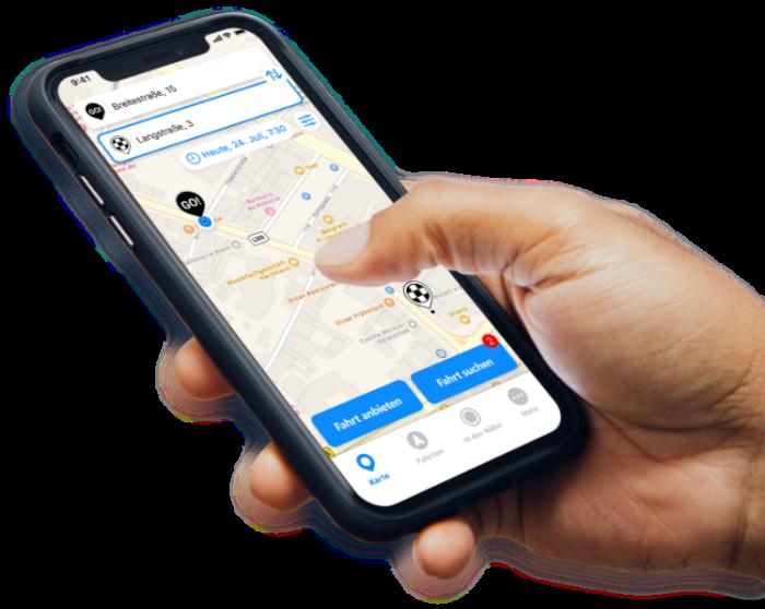 Darstellung der Mitfahr-App